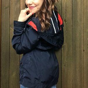 Cambridge Blue Detachable Hood Zip-Up Rain Jacket
